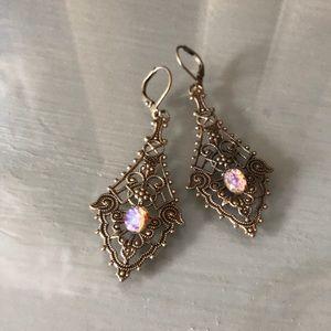 Elegant fire opal earrings